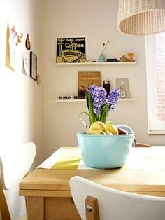 sunny kitchen with yellow and lilac accents