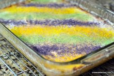 Celebrate Epiphany, Mardi Gras, Fat Tuesday, Carnival, or anything else with a gluten-free King Cake! Mardi Gras Food, Mardi Gras Party, Mardi Gras Desserts, Cake Bars, Dessert Bars, Holiday Treats, Holiday Recipes, Holiday Foods, King Cake Baby