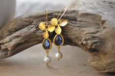 Blue Glass With Pearl Chandelier Earring,Blue bridesmaid earrings. Blue bridesmaids jewelry. Wedding jewelry. Bridal earrings. by JewelrybyXinyiMartin on Etsy