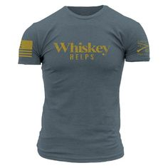 Sometimes life sucks. Whiskey helps. Grunt Style's Whiskey Helps shirt is an ultra comfortable 60/40 cotton polyester blend t-shirt.