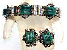 Art Deco Sterling Silver Obsidian Bracelet Earrings Set Mexican