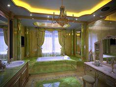 green glass luxury bathroom