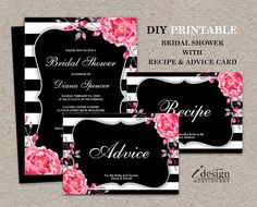 Bridal Shower Invitation With Recipe And Advice Card | Printable Black & White Stripe Wedding Shower Invitation With Pink Watercolor Peonies