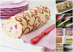 Bizcocho decorado by SandeeA Cocina (Patterned Swiss Roll) Food Cakes, Cupcake Cakes, Sweet Recipes, Cake Recipes, Dessert Recipes, Dessert Oreo, Decoration Patisserie, Recipe Steps, Köstliche Desserts