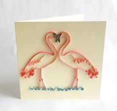 Paper Quilled Card, Quilled Flamingo Card, Love Card, Flamingo Love, Quilled Animal, Animal Love, Paper Quilled Love Card, Paper Quilling