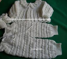 CROCHE E TRICO PARA OS PEQUENINOS: casaquinho e calça de crochê para bebe com receita