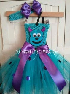 Monsters Inc inspired Sulley tutu dress costume birthday party halloween Monster Inc Party, Monster Inc Costumes, Monster Inc Birthday, Tutu Costumes, Disney Costumes, Halloween Costumes For Girls, Halloween Dress, Halloween Party, Costume Dress