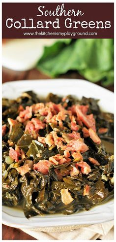 Southern Recipes Southern Collard Greens ~ Enjoy tender, tasty collards for New Year's Day or ANY… Easy Collard Greens Recipe, Southern Collard Greens, Mustard Greens Recipe Southern, Crockpot Collard Greens, Vegetable Side Dishes, Vegetable Recipes, Vegetarian Recipes, Pescatarian Recipes, Healthy Cooking