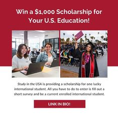 One lucky international student can win a scholarship of $1,000 from Study in the USA to use for your U.S. life and education 📝 . All you have to do to enter is fill out a short survey and be a current enrolled international student. The survey is easy to enter, has no essay requirements, and is open to all accepted students. University Tips, Thing 1, Study, Education, Studio, Studying, Onderwijs, Learning, Research