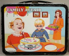 1967 Family Affair Lunch Box- OMG i had this one and I LOVED IT!!!!!! weird but when i see this i could taste my baloney sandwich wrapped in wax paper, and the warm milk. It was bad when you'd open your thermos to find broken glass in the milk. You could actually hear that it was broken and didn't need to open. Crazy that it was made of real glass inside thermos.