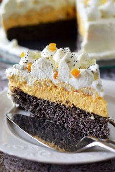 Tejszínes-narancsos máktorta recept Hungarian Cake, Hungarian Recipes, Tart Recipes, Cookie Recipes, No Bake Desserts, Dessert Recipes, Torte Cake, Healthy Cake, Cafe Food