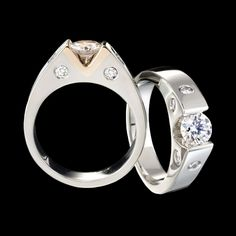 Omni diamond ring is sleek and refined. A stylish token of love. Shown here with a carat round center diamond flush set in white gold. Diamond Ring Settings, Diamond Rings, Diamond Engagement Rings, Diamond Jewelry, Modern Jewelry, Jewelry Art, Jewelry Design, Designer Jewelry, White Gold Jewelry