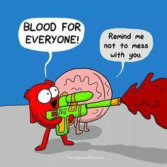 Keep on pumping Funny Cartoons, Funny Comics, Funny Jokes, Hilarious, Akward Yeti, The Awkward Yeti, Heart And Brain Comic, Medical Humor, Science Humor