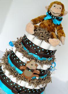 Diaper Cake - Blue & Brown Polka Dot Monkey Themed Baby Boy Diaper Cake Baby Shower Centerpiece - 3 Tier. $80.00, via Etsy.