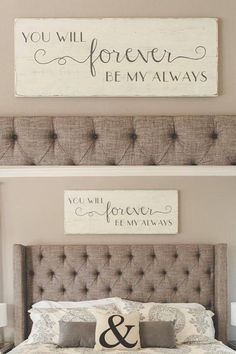 "Hand painted wood sign, ""You will forever be my always"" #homedecoraccessories #RomanticBedrooms"