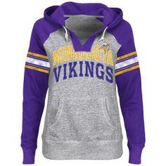 Minnesota Vikings Ladies Huddle V-Neck Hoodie - Steel/Purple