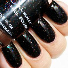 Dark & Twisty 0.5 Oz Full Sized Bottle ($8.75) ❤ liked on Polyvore featuring beauty products, nail care, nail polish, nails, bath & beauty, black, makeup & cosmetics, rainbow nail polish, rainbow glitter nail polish and dark nail polish