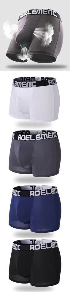 3a7907f3aa7e Sexy Hole Breathable Mesh Pouch Separation Physiological Health Care Boxers  for Men