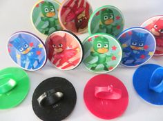 BRAND NEW - SET of 12 - Pj Masks ring cupcake toppers. Each ring has one of 3 different images from Pj Masks.  Processing Time: Please allow