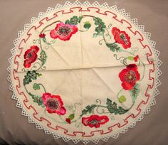 Arts & Crafts Embroidered Round - Poppies
