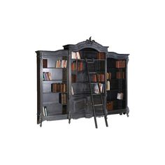 Moulin Noir Library Bookcase - Buy from the French Furniture... (5.985 BRL) ❤ liked on Polyvore featuring home, furniture, storage & shelves, bookcases, books, fillers, interior, book case, book-shelves and french bookcase