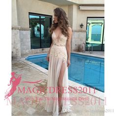 Sexy Deep V-Neck Prom Evening Dresses 2016 A-Line Special Occasion Dress White Lace High Split Long Chiffon Formal Party Gowns Custom Made Party Prom Dresses Beaded Formal Evening Gown Crystal Evening Gowns Online with 128.0/Piece on Magicdress2011's Store | DHgate.com