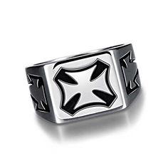 RAUL FANT Men's Titanium Steel Vintage Punk Rectangle Cross Rings,Size 8-12