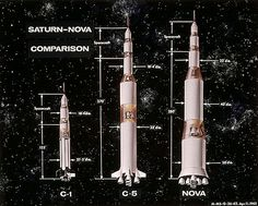 Very early concept diagrams, April 1962, of [from left to right] the Saturn I, Saturn V and Nova C8 rockets. (Each concept included one additional stage, which was omitted entirely from the Saturn I and eventually replaced by the Lunar Module Adapter on the Saturn Ib & Saturn V)