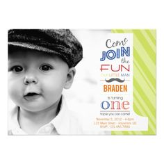 Celebrate your little ones first birthday in style with this adorable 5x7 photo invitation. Make it your own by adding your childs: Name Party Date & Time Address RSVP information Thank you!