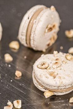 Caramelized White Chocolate and Hazelnut Macarons