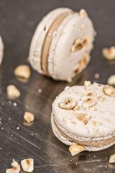 Caramelized White Chocolate and Hazelnut Macarons