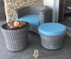 Fibre-cane has that wicker look, without the PT involved in maintaining it! This elegant little outdoor furniture set is handwoven with love at our factory in Ballito…