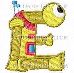 Free Embroidery Design: Robot Font – Letter E Cute Embroidery, Embroidery Fonts, Embroidery Ideas, Robot Font, Cute Alphabet, Letter E, Free Machine Embroidery Designs, Ribbon Work, Robotics