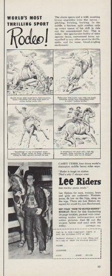 """""""-- World's Most Thrilling Sport -- Rodeo! Casey Tibbs, four times world's champion saddle bronc . Vintage Advertisements, Vintage Ads, Vintage Prints, Vintage Style, Bareback Riding, Beauty Tips And Secrets, Arrow Shirts, Cowboy Theme, Bull Riding"""