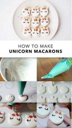 How to make Unicorn Macarons 🦄🦄🦄 Cupcakes, Cupcake Cakes, Macaron Template, Macaroon Cookies, Unicorn Foods, French Macaroons, Macaroon Recipes, Unicorn Macarons, Cute Desserts