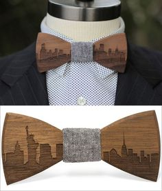 These modern wood bow ties feature city skylines engraved along the bottom, with grey denim center pieces to give them a casual, timeless look for men's fashion.