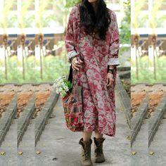 Women print dress cotton linen dress maxi dress / long door chaxuan