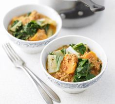 Use whatever greens you have for this nutty, sweet stew. Serve on its own in bowls, or with rice