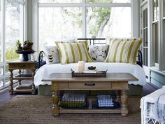 Smart Living Tip:  We don't all have the option of having extra sleeping quarters for overnight guests, but a brilliant alternative to a guest bedroom, is incorporating a daybed into a sunroom or office space. Try this Paula Deen Home, Garden Gate Metal Daybed from Universal Furniture; it is fully functional as seating and doubles as a bright guest bedroom. Use your space wisely!