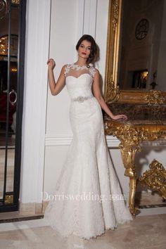 #Valentines #AdoreWe #Dorris Wedding - #Dorris Wedding Sexy Illusion Sleeveless Mermaid Wedding Dress With Lace Appliques - AdoreWe.com