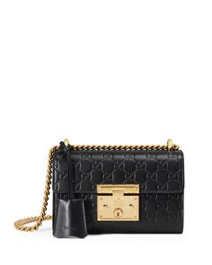 Padlock Gucci Signature Small Shoulder Bag, Black