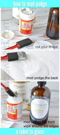 I'm so excited to show you guys how to label glass using mod podge. I'm really excited about making household products using my young living essential oils and just recently made Fruit and Veggie Spray. Modge Podge Glass, Idées Mod Podge, Mod Podge Crafts, Mod Podge Spray, Diy Arts And Crafts, Crafts To Do, Adult Crafts, Easy Crafts, Deco Podge
