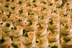 Pinwheels are an easy appetizer for your wedding, but can be easily made elegant