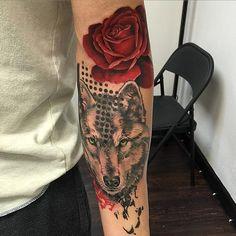 David Mushaney - Trash Polka Style Wolf and Rose Tattoo