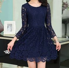 Fashion long-sleeved embroidered lace dress #WE41110PO