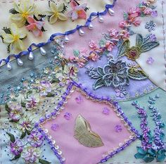 I ❤ crazy quilting . . . Judith's final- Judith's block definitely speaks of springtime. I love the curved piecing and the embellishing is beautiful!