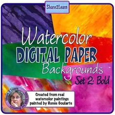 Watercolor Digital Paper Bold Colors: created from real watercolor paintings. Bold color set has 20 different color designs, two sizes for each color.