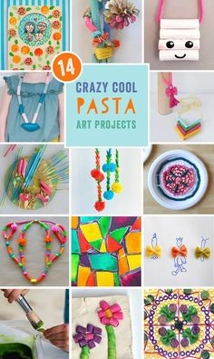 14 crazy cool pasta crafts and art projects by the Rockin' Art Moms, click through for links to the tutorials