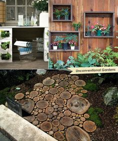 Loove the walkway.This is gonna be our new walkway. Dream Garden, Home And Garden, Wood Walkway, Walkway Ideas, Path Ideas, Moss Garden, Garden Path, Outdoor Living, Outdoor Decor