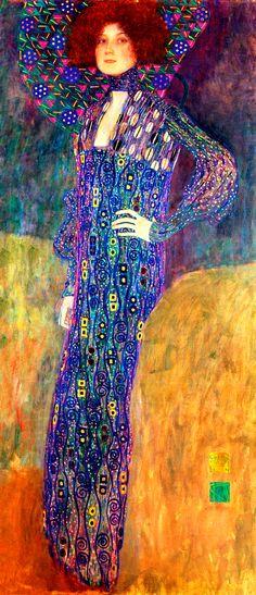 ⊰ Posing with Posies ⊱ paintings & illustrations of women & children with flowers - Villa Gustav Klimt. Portrait of Emilie Flöge, 1902